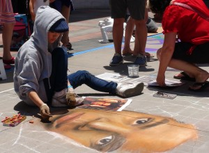 Portraits were one of the many types of chalk murals that were done by artists at the Pasadena Chalk Festival on June 15 at the Paseo Colorado in Pasadena, Calif. Photo by: Alicia Edquist
