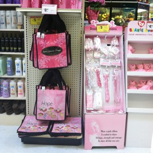 Grocery stores like Albertsons in Downey, Calif. are selling pink ribbon products for breast cancer awareness month.  Photo by: Alicia Edquist